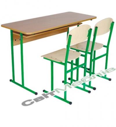 Комплект: стіл учнівський 2-місний з полицею, № 6 + стілець полозковий, №6